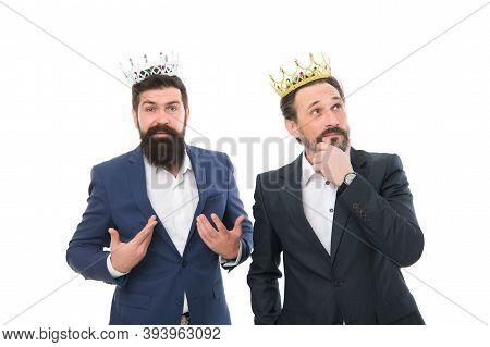 Fancy Themselves As Kings. Bearded Men Wear Kings Crowns. Kings Of Business. Big Boss. Leader And Le