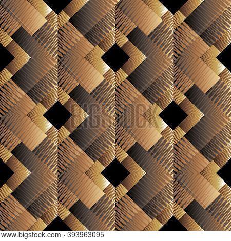 Textured Dark Brown 3d Geometric Seamless Pattern. Vector Ornamental Grunge Background. Surface Abst
