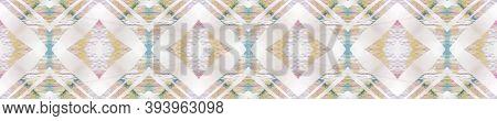 Ikat Aztec Pattern. Pastel Blue And Rose Seamless Texture. Abstract Shibori Motif. Repeat Tie Dye Ra