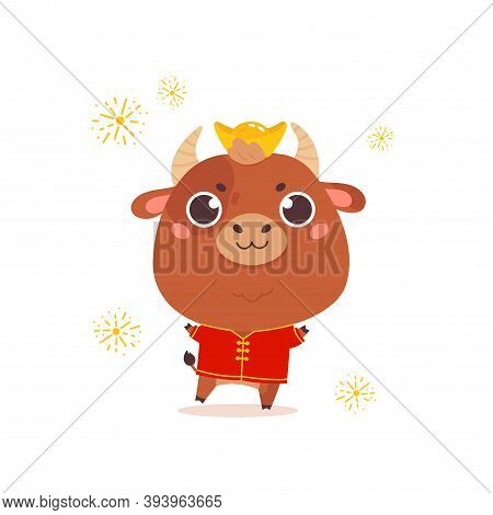 Cute Cartoon Ox In A Traditional Costume. Design For Greeting Cards, Stickers, Banners, Prints. Xmas