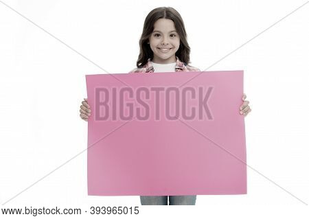 Advertisement. Little Girl Hold Paper For Advertisement. Advertisement Child With Place For Copy Spa