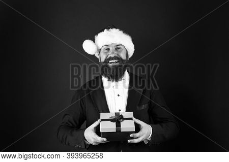 Choose Right Present. Happy Hipster Hold Present Box. Businessman Smile With Present. Present From S
