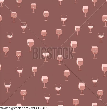 Glass Of Wine Seamless Pattern. Wineglass Symbol. Glassware Concept. Liqueur Cup. Glassware Silhouet