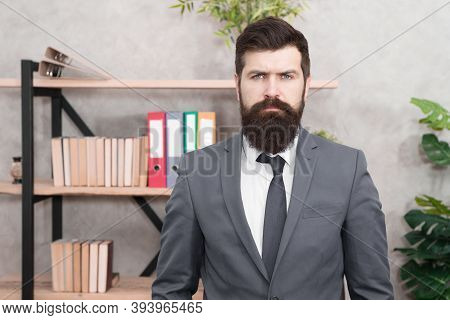Business Banker. Modern Businessman. Confident Brutal Man. Male In Business Office. Bearded Man Bank