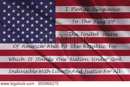 American Flag With The Pledge Of Allegiance Printed On The Stripes
