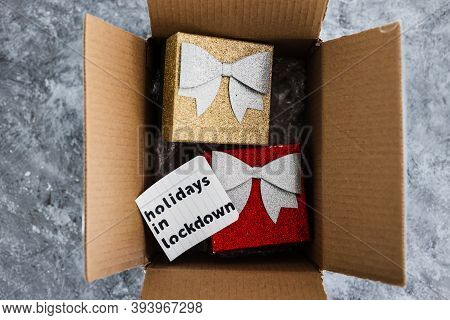Winter Holidays In Lockdown, Gifts Being Delivered Via Postal Parcel With Christmas Themed Items Ins