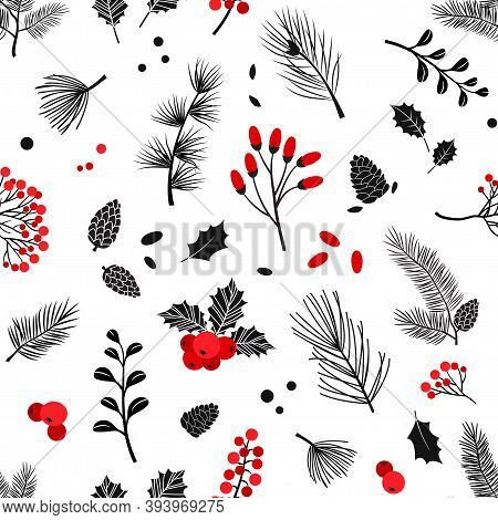 Christmas Vector Plants Seamless Pattern, Holly Berry, Christmas Tree, Pine, Leaves Branches, Holida