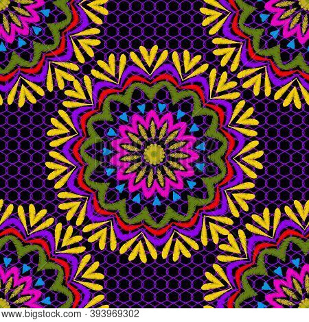 Tapestry Floral Vector Seamless Mandala Pattern. Ornamental Colorful Lace Grid Textured Background.