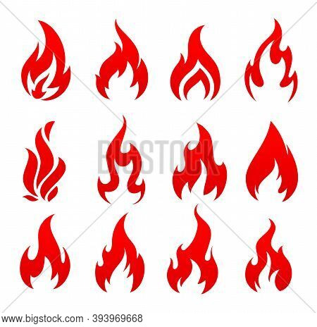 Fire, Campfire Isolated Vector Icons, Torch Flame, Red Burning Bonfire Blaze Symbols. Glowing Shinin