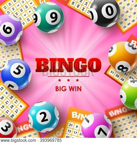 Lottery Balls And Tickets, 3d Vector Bingo Poster For Lotto, Bingo Or Keno Gambling Games. Colourful