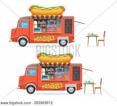 Hot Dog Food Truck Isolated Vector Catering Van With Chalkboard Menu And Equipment For Cooking Hotdo