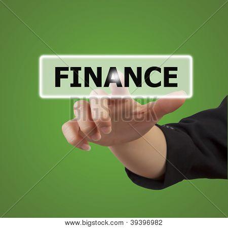 Woman Hand Touching Button Finance Keyword