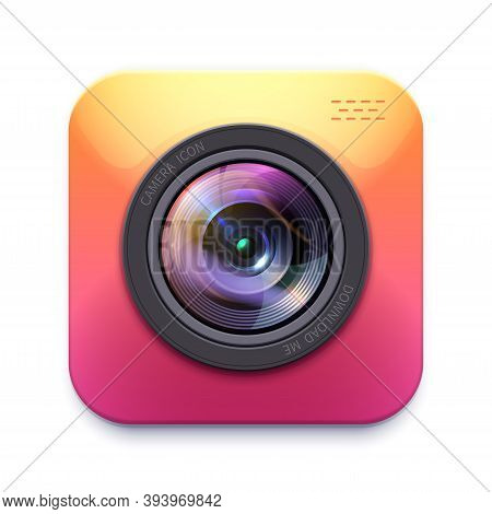 Photo Or Video Camera Icon, Isolated Vector Photographer Equipment Design Element, Graphic Digital S