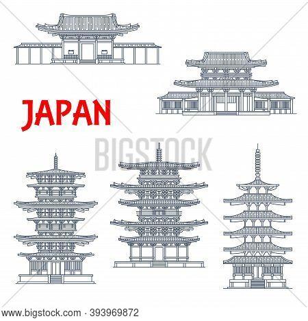 Japan Landmarks Icons, Temples And Japanese Pagodas, In Ikaruga Nara, Japan, Vector. Japanese Buddhi