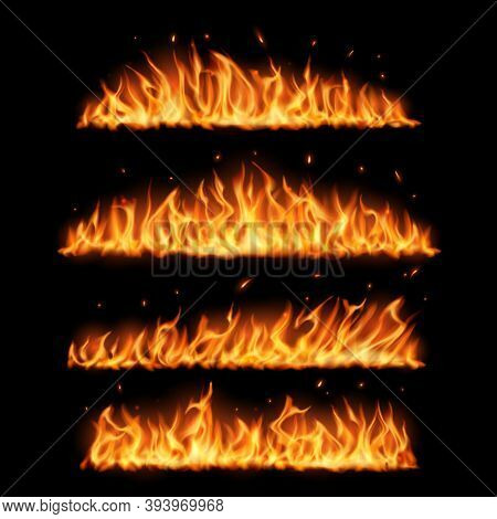 Fire Flames On Black Background Realistic Vector Design. Burning Fire With Hot Red Flames And Sparks