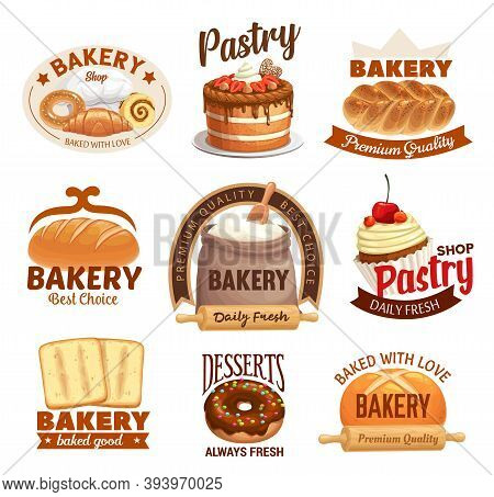 Bakery Products Vector Labels Bread, Sweet Desserts And Pastry. Baked Food Cake, Bagel And Croissant