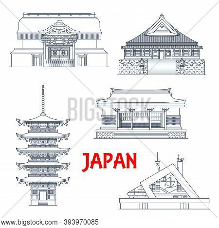Japan Landmarks, Temples And Pagodas Icons, Japanese Shrines, Travel Architecture, Asian Buildings.