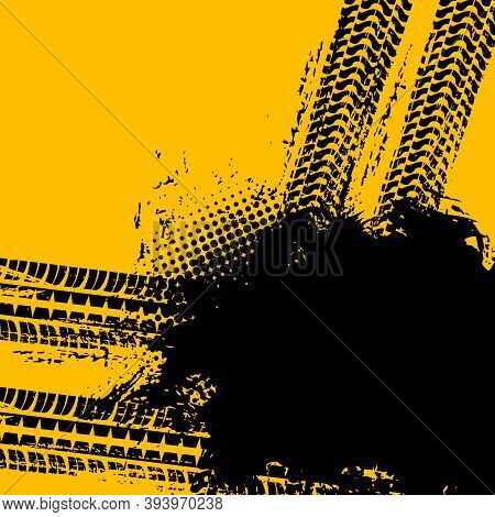 Road And Car Tire Grunge Background, Vector Pattern Track Of Truck Wheels Drift, Black Halftone Post