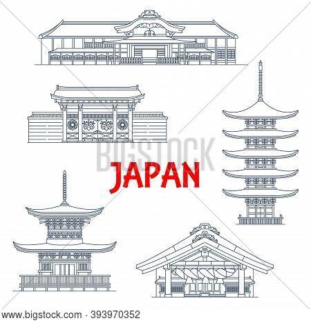 Japan Landmark Temples, Japanese Pagoda Icons, Vector Travel Buildings In Kyoto. Izumo-taisha Or Izu