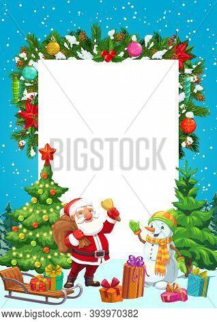 Christmas Tree, Santa And Snowman, Xmas Gifts, Snow Sledge And Star, Present Boxes, Balls And Snowfl