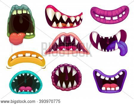 Monster Mouths With Sharp Teeth And Tongues. Cartoon Funny Aliens Close And Open Os Smiling, Laughin