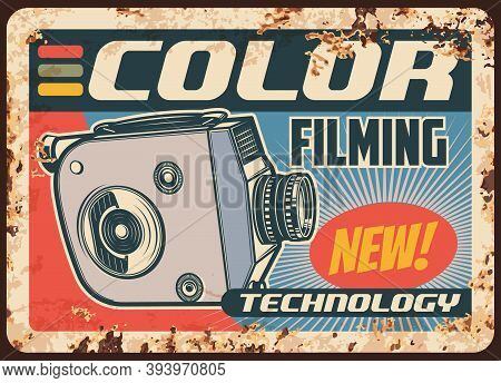 Camera Movie, Video Retro Film, Metal Plate Rusty Or Vector Vintage Poster. Color Filming, Cinema An