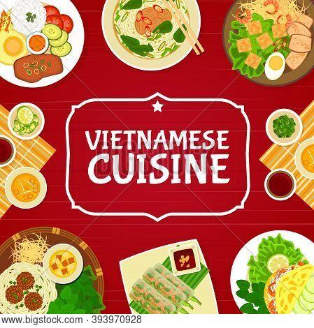 Vietnamese Restaurant Dishes, Vector. Broken Rice Com Tam With Pork, Noodle Beef Soup Bun Bo Hue, Le