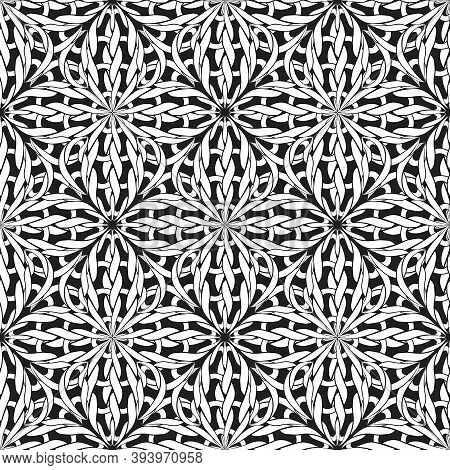 Knitted Seamless Pattern. Vector Black And White Ornamental Braided Background. Textured Monochrome