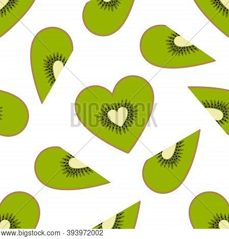 Cute Kiwi Hearts Seamless Pattern On A White Background. Flat Cartoon Style. Can Be Used For Valenti