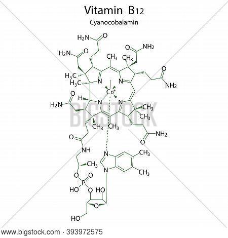Flat Vitamin B12 Formula For Medical Design. Illustration For Medical Design. Molecular Structure. S