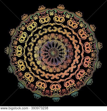 Paisley Embroidery Mandala Pattern. Vector Colorful Tapestry Floral Round Ornament. Grunge Texture.