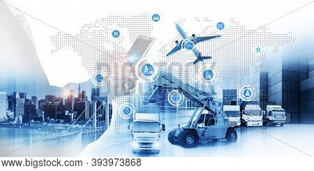 Smart Technology Concept With Global Logistics Partnership Industrial Container Cargo Freight Ship,