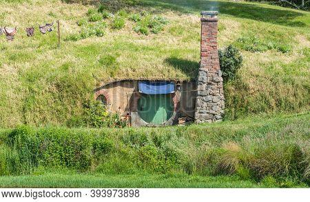 Matamata, New Zealand - December 09 2017 : The Hobbit House In Hobbiton Movie Set  In Matamata, New