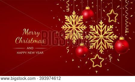 Christmas Red Background With Hanging Shining Golden Snowflakes, 3d Metallic Stars And Balls. Merry