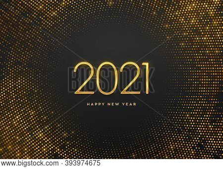 Happy New 2021 Year. Golden Metallic Luxury Numbers 2021 On Shimmering Background. Realistic Sign Fo