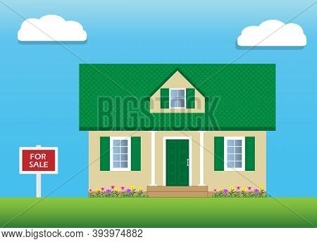 Vector Of House With Green Gable Roof For Sale. An Attic With A Dormer Window. For Sale Sign. Real E