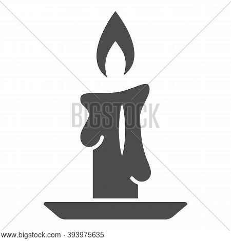 Burning Candle Solid Icon, New Year Concept, Candle Sign On White Background, Burning Candle In Cand