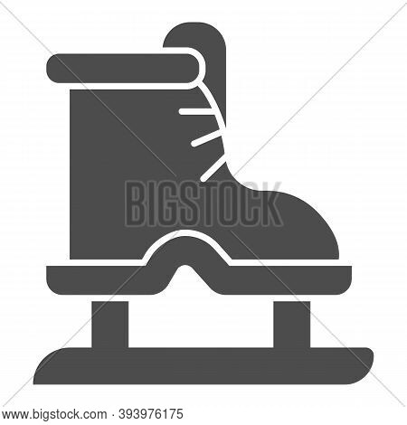 Ice Skates Solid Icon, Winter Sport Concept, Boot With Blade Sign On White Background, Equipment For
