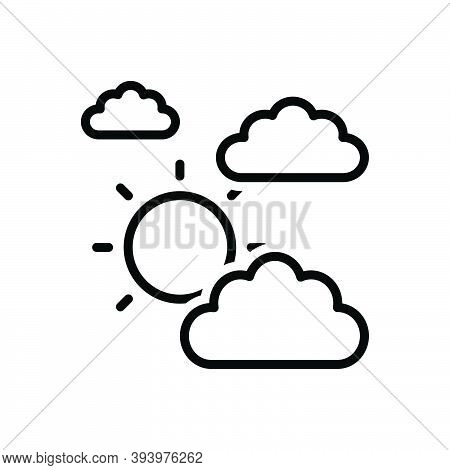 Black Line Icon For Mostly Mainly For-the-most-part Largely Essentially Cloud Sun Weather Climate