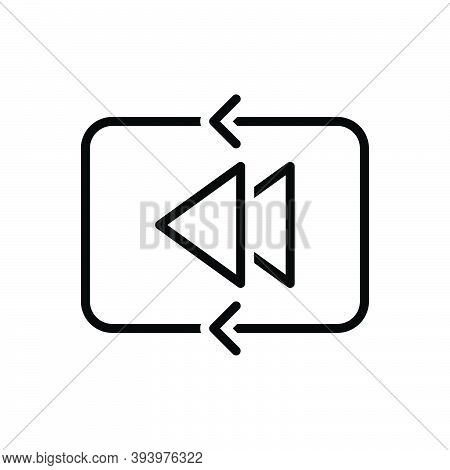 Black Line Icon For Previous Arrow Play Play-previous Earlier Already Antecedently Before Heretofore