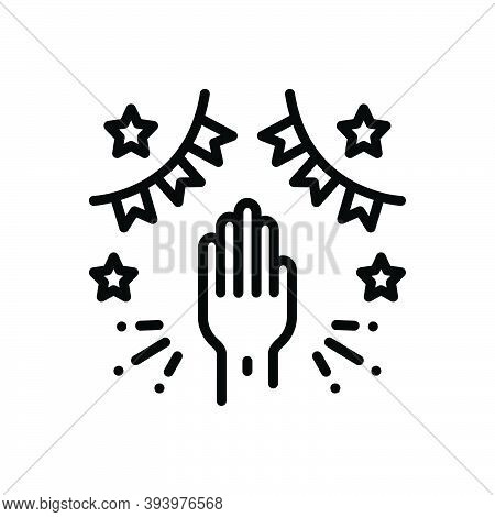 Black Line Icon For Involve Affect Associate Engage Join Party Pertain Regard Participate Contributi