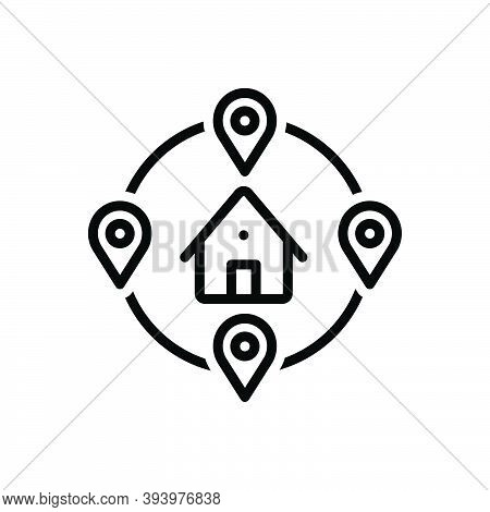Black Line Icon For Closely Near Location Building Neighborhood Neighbor House Nigh Short Nearby Int