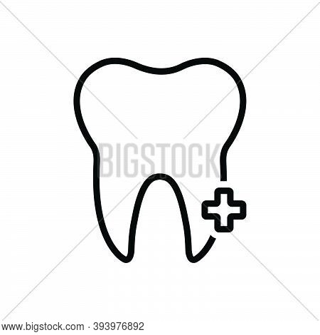 Black Line Icon For Tooth Teeth Human Clinic Dental Sensitive Cavities Mouth Pain Periodontitis