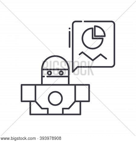 Ai Data Prediction Icon, Linear Isolated Illustration, Thin Line Vector, Web Design Sign, Outline Co