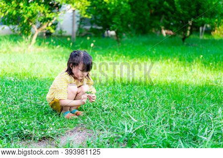 Ecological Exploratory Concept. A 5-year-old Asian Little Cute Girl Is Sitting On A Warm Grass Field