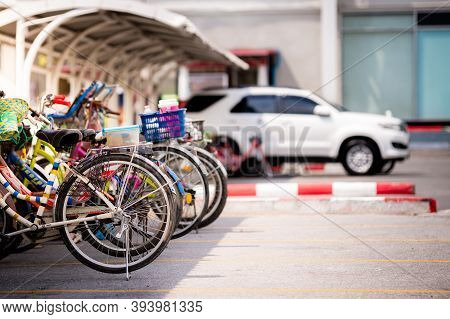 Bangkok Thailand; October 09, 2019 -bicycle And Car Parking Lots, Bicycles Parked In The Parking Lot