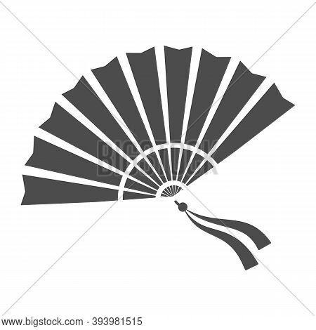 Chinese Fan Solid Icon, Chinese Mid Autumn Festival Concept, Traditional Fan With Ribbons Sign On Wh