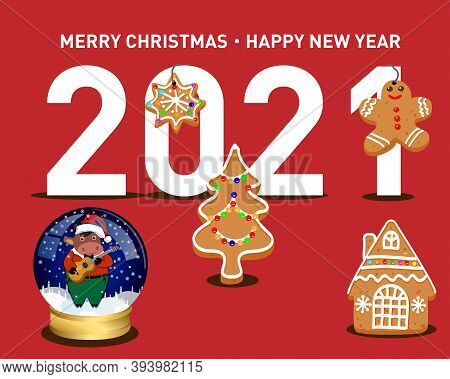 Vector Christmas And New Year Card. Christmas Cookies And New Year's Ball With A Bull - A Symbol Of