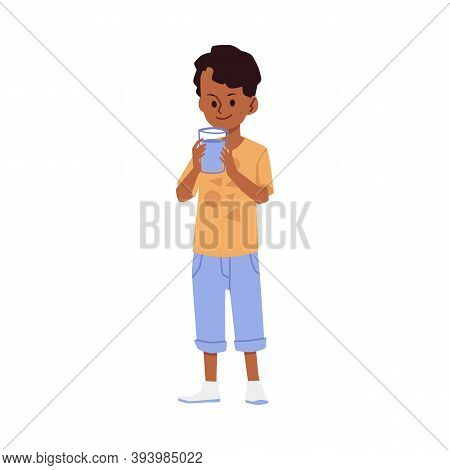 Boy Kid Quenches Thirst With Drinking Water From Bottle A Vector Illustration