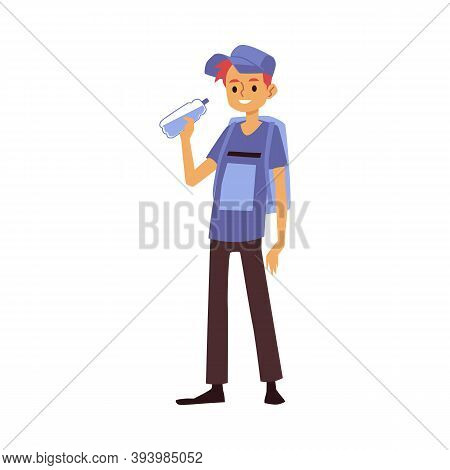 Guy With Backpack Drinks Clean Drinking Water From Bottle A Vector Illustration.